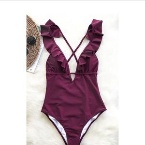 HEART FALBALA ONE-PIECE SWIMSUIT WINE RED LARGE